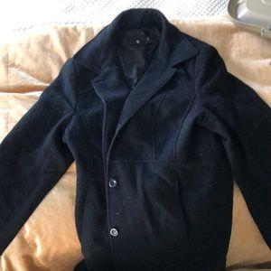 Simple Button-Up Black Coat